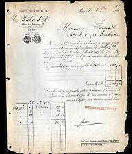 """PARIS (II°) ETOFFES SOIERIES TISSUS d'AMEUBLEMENT """"RICHARD & DUCHESNE"""" en 1881"""