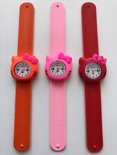 1x Kids Children Girl Hello Kitty Cute Snap On Slap Rubber Band Wrist Watch Gift