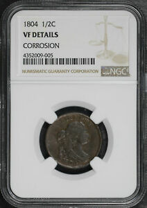 1804 Draped Bust Half Cent NGC VF Details Corrosion