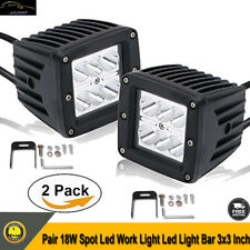 "2x 3inch 18W Spot LED Work Light Pods Truck SUV 3x3"" Cubes Driving Offroad Lamp"