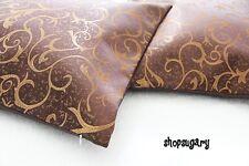 Vintage Thaiseide Kissenbezug Kissenhülle 42x42 cm Brauntönegold glanz Motiv