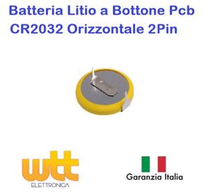 Batteria al litio bottone CR2032 da circuito stampato a saldare orizzontale 3V
