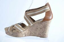 Merona  Womens Tan White Strappy Wedge Open Toe Slingback Sandal Size 9.5M   (P)