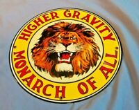 VINTAGE GILMORE LION GRAVITY MONARCH PORCELAIN GAS SERVICE STATION PUMP SIGN