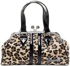 Sourpuss Tan Leopard Temptress Purse NEW Punk Rock Pin Up Faux Fur Vinyl