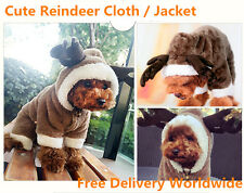 Dog Costumes Reindeer Hoodie Jacket Dog Puppy Clothes  Small Dogs cat