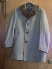 Vintage Pendleton Men's Virgin Wool Coat Size 40 Faux Fur Collar Brown Tweed