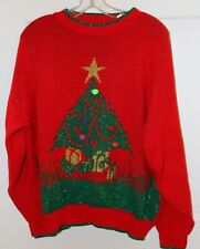 UGLY Christmas SWEATER Glitter Red TREE Plus Size ?? Party
