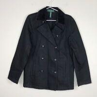 LRL Lauren Jeans Co Black Denim Corduroy Collar Double Breasted Jacket Womens 14