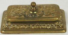 Vintage Solid Brass Rectangular Stamp Holder W/ Lid & Fancy Scroll Decoration