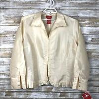 Oscar De La Renta Women Vintage Blazer Jacket Sz 22 Ivory Unlined Ruffle Hem NWT