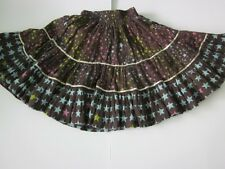 Oilily 116 6 6X Girl Moonlight Garden Tamar Twirl Skirt Brown Blue Sparkle Gold