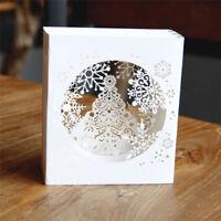 3D Handmade Pop Up Tree Box Snowflake Greeting Card Gift Holiday Merry Christmas