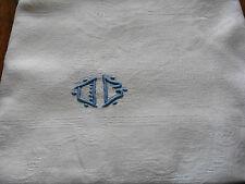 LINGE ANCIEN // NAPPE DAMASSE PUR LIN BLANC DEUX MONOGRAMME JD