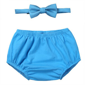 Infant Baby Boys Outfits First 1st Birthday Diaper Cover Bloomers+Bow Tie Props