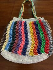 Crochet Colorful  W/ Stripes Lined Recycled Plastic Tote Beach Bag Purse