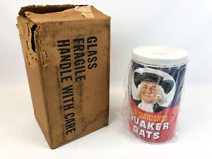 Vintage 1977 Old Fashioned Quaker Oats Ceramic Oatmeal Cookie Jar Canister NIB