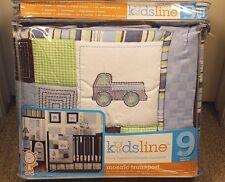 New 9 pc Kidsline MOSAIC TRANSPORT Nursery Crib Bedding Set Cars Blue