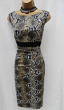 Exquisite Karen Millen Satin Black Snake Print Wiggle Cocktail Pencil Dress 10
