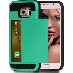 SAMSUNG GALAXY S6 GREEN SHOCK-PROOF PROTECTIVE CASE WALLET CARD SLOT ARMOR COVER