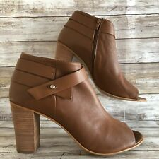 6f4ac920c70 Steve Madden Now 11M Open Toe Ankle Boots Brown Leather Zip Up Stacked Heel
