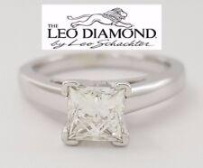 0.97 ct 14K & Platinum Leo Princess Diamond Solitaire Engagement Ring F / SI1
