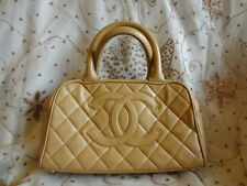 Authentic Chanel Caviar CC Logo Leather Small Bowling Hang Bag Purse C91 SALE