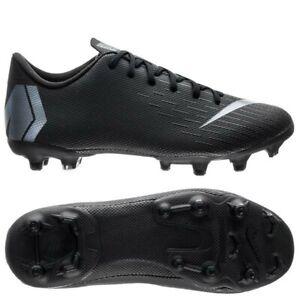 New Boys Kids Nike Jr Vapor 12 Academy FG Football Boots Black Silver UK Size 1