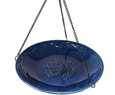 Backyard Essentials Hanging Embossed Cobalt Blue Songbird Birdbath Be801