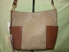 Calvin Klein Khaki/Brown Signature PVC Reversible Shoulder/Tote BAG  Cute Bag!
