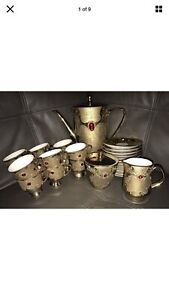 Bavaria Flores Gold Tea Set With Red Faux Gems Stunning 27 Pieces