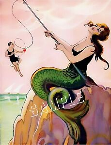 VINTAGE FRENCH ART DECO MERMAID CATCH MAN FISHING POLE *CANVAS* ART PRINT