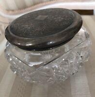 Vintage Art Deco Style Sterling Silver Etched Lid Cut Crystal Dresser Powder Jar