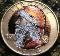 Hobo Nickel Coin Washington quarter as Santa Claus engraved by J&M Tarantula
