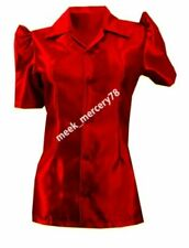 Short Sleeve Button-Down Red Tops & Shirts for Women