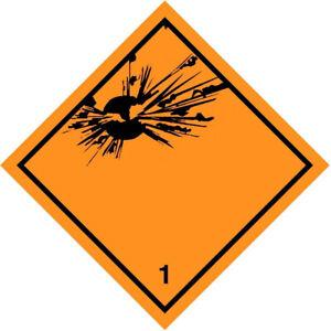 Etichetta in PVC di classe 1 per Materie e oggetti esplosivi ADR
