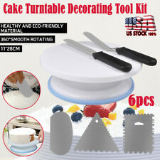 6pcs Cake Decorating Tips Pieces Kit Tools Turntable Stand  Baking Supplies US