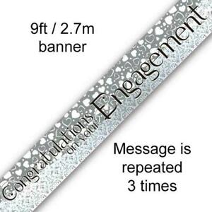 9ft White Entwined Hearts Foil Banner - Congratulations on Your Engagement