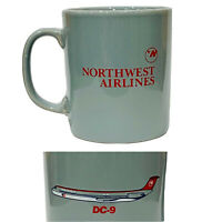 Northwest Airlines DC-9 Coffee Gray Mug Tea Cup Aviation Collectible England