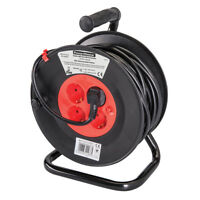 European Type F Schuko Cable Reel 230V 16A 25m 4 CEE 7/4 Sockets Extension Lead