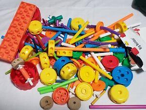 Lot 98 pc Tinker Toys Mixed Lot plastic Wheels, Sticks, 4-8 yrs larger