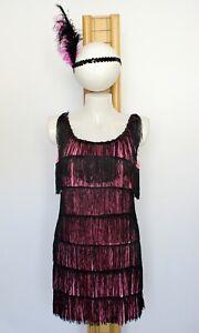Flapper Costume Dress Pink Black Fringed Charleston Gatsby 1920's Ladies 8 10 12
