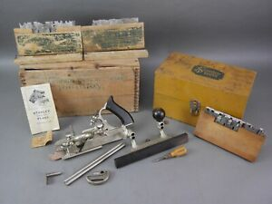 1930's STANLEY SWEETHEART 45 COMBINATION PLOW PLANE W BOX CUTTERS & ACCESSORIES