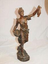"""ART NOUVEAU - Grande statuette en régule """"la pêche"""" Bruchon Guillemin XIX"""
