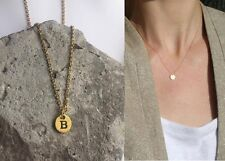 "Delicate Gold Round Disc "" B "" Letter Initial Pendant Necklace 18""L chain Urban"