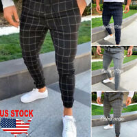 NEW Men's Slim Fit Plaid Straight Leg Trousers Casual Pencil Jogger Casual Pants