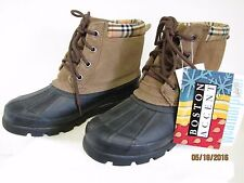 NWT Boston Accent W-2012D Ladies Black Brown Leather Rubber Waterproof Boots 7M