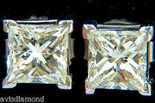 █$13500 2.00CT NATURAL PRINCESS CUT DIAMOND STUD EARRINGS J/SI-1█14K