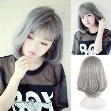 US Warehouse Anime Wig Medium Long Straight Slight Curly Hair Costume Gray Wig