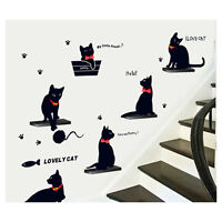 DIY Black Cats Family Wall Sticker Decal Removable Home Decor Vinyl Art Mural
